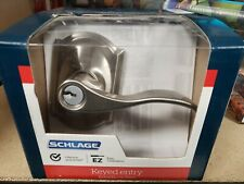 Schlage Satin Nickel Keyed One Side Entry Door Handle | Model F51 V Acc 619