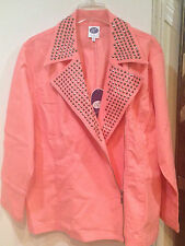 Women's Casual nigh Studded Moto denim jean Jacket Peach coral color plus size2X
