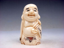 "2-5/8"" Highly Detailed Hand Crafted Japanese Netsuke Fat Monk & Ru-Yi #011619"