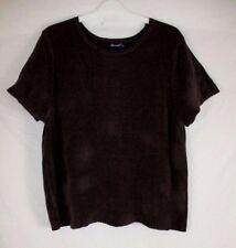 Denim & Co. Womens 1X Brown Textured Knit Short Sleeve Pull Over Shirt CB40B