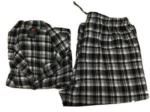 Hanes Pijama Set Mens Plaid 100% Cotton Black/white/gray Sz Large 2 Pieces