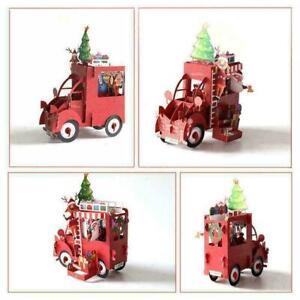 Christmas Car 3D Greeting Cards Wedding Birthday Holiday Gifts V4L4 S5A0 Q4Q0