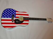 SHOOTER JENNINGS SIGNED USA FLAG ACOUSTIC GUITAR COUNTRY WAYLON PROOF
