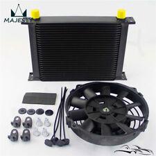 """28 Row Transmission Radiator Engine Oil Cooler An10 + 7"""" 12V Electric FAN Kit BK"""