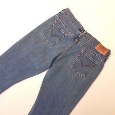 "LEVI'S Levi Strauss & Co 31"" 601 Style Solid Blue Distressed 3/4 Vtg Crop Capris"