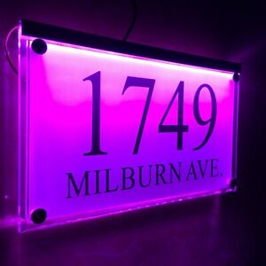 Large Crystal effect House Sign Plaques Door Numbers Name Plate Purple LED LIGHT