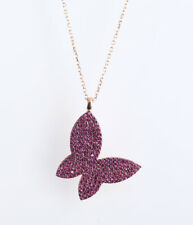 BUTTERFLY RUBY ROSE GOLD COLORED OVER .925 STERLING SILVER NECKLACE #67050
