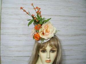 Kentucky Derby Floral Fascinator Hat Orange Easter Hat Wedding Hat Tea Party Hat