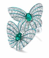 925 Silver Woman Emerald Jewelry Wedding Engagement Butterfly Gift Ring Sz 6-10