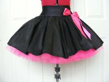 NEW HANDMADE GIRLS BLACK / FLO PINK TUTU SKIRT IRISH DANCE SCHOOL  10 - 12 YRS
