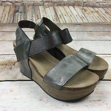 Womens Pierre Dumas Platform Sandals Heels silver ankle pewter Hester wedge