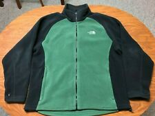 MENS USED THE NORTH FACE GREEN & BLACK FULL ZIP WARM FLEECE JACKET SIZE XL