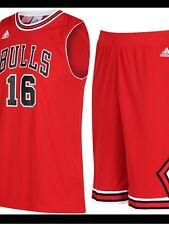 adidas NBA Kids Basketball Jersey Shorts Set Chicago Bulls Gasol Childrens Red 7-8 Years