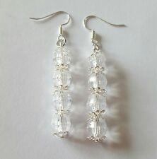 New Handmade Clear Acrylic Round Beaded Silver Bead Cap Dangle Drop Earrings