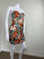 Bay Dress UK 8 Blue Pink Floral Strapless Sweetheart Mini Party Cute Retro