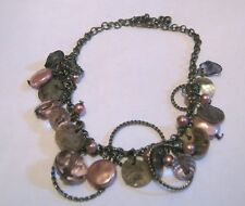 Pretty bronze tone metal chain bracelet shell and beads dangles approx 7-9 ins