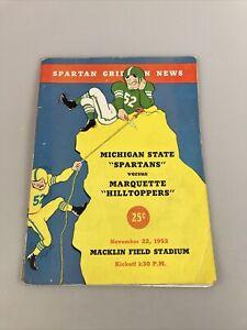 Michigan State Vs. Marquette, November 1952 - Vintage Official Football Program