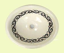 #018 Medium Bathroom Sink 17X14 Mexican Ceramic Hand Paint Drop In Undermount