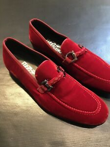 SALVATORE FERRAGAMO RED VELVET SLIP ON LOAFERS SHOES SIZE 7EE 7 WIDE AUTHENTIC