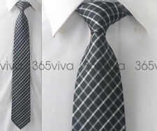 White Black White Plaid Checker Men Handmade 100% Woven Silk 8 cm nch Neck Tie