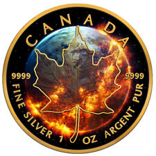 Apocalypse Maple Leaf 2016 1 oz Pure Silver Coin Black ruthénium 24kt gold