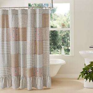 VHC Brands Farmhouse Shower Curtain Blue Rod Pocket Ruffling Kaila Bath Decor