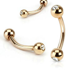 New Rose Gold Plated over Surgical Steel Eyebrow Curve Cartilage Bar with Gems