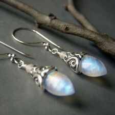 Women Vintage 925 Silver Plated Shiny Rainbow Moonstone Long Dangle Ear Studs