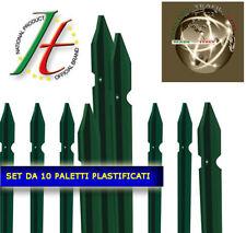 PALETTI PER RETE PER RECINZIONE H.175 CM RETE METALLICA  PLASTIFICATI SET 10 PZ