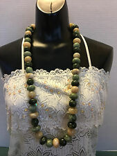 """Large 3/4"""" Faux Greens & Beige Marble Stone Beads 16"""" Long Fashion Necklace"""