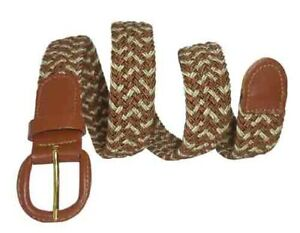 """Tan Beige Leather Covered Buckle Woven Elastic Stretch Belt, 1-1/4"""" Wide Unisex"""