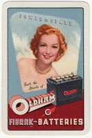 Playing Cards Single Card Old MOTOR CAR BATTERIES Advertising Art Redhead Girl A