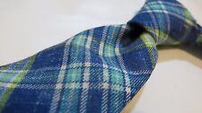 KITON black mens neck tie NEW WT! 100% linen 7-FOLD blue yellow plaid linen-look