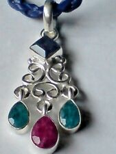 """STERLING SILVER RUBY,EMERALD & SAPPHIRE PENDANT on18""""  LEATHER THONG £12.95 NWT"""