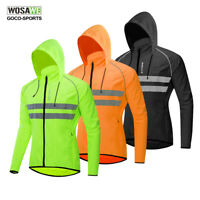 High Visibility Men's Hooded Cycling Jackets Bike Jerseys Wind Coat Windbreaker