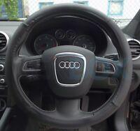 Black PU Leather Universal Car Van Steering Wheel Plain Cover Protector 38cm UK