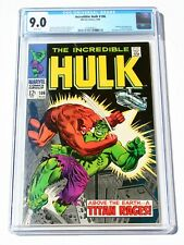 CGC 9.0 INCREDIBLE HULK #106 * 5th Issue * 1968 * Marvel Comics * White Pages!