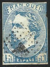 EDIFIL 156º 1 Real azul 1873. Carlos VII - Carlista Matasello  Rombo de puntos