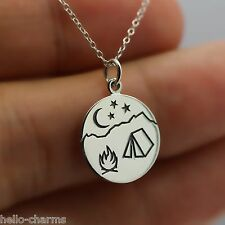 CAMPFIRE NECKLACE - 925 Sterling Silver - Camper Camp Fire Charm Travel Tent NEW