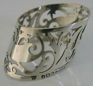 UNUSUAL ENGLISH SOLID STERLING SILVER PIERCED NAPKIN RING 1910 ANTIQUE