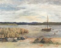Oil Painting Shore Beach With Reed And Sailing Boat Kjl Monogram 1950
