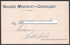 NOVARA CASALEGGIO 02 SOCIETÀ MURATORI Cartolina COMMERCIALE viaggiata 1939