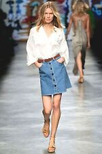 CHLOE RUNWAY pristine USED button front denim jean skirt 44 US 8 10
