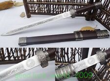 """Hand Forged Chinese Longquan Sword """"Wo Long Jian""""(劍) Stainless Steel Short Knife"""