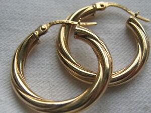 HALLMARKED  9CT 9CARAT YELLOW GOLD TWIST HOOP  EARRINGS FOR PIERCED EARS