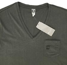 Men's G-STAR / G RAW Olive Gray Logo V-Neck T-Shirt Tee Shirt Small S NWT NEW