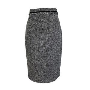LK Bennett Black White Boucle Pencil Fitted SK Darya Smart Work Skirt Size 8