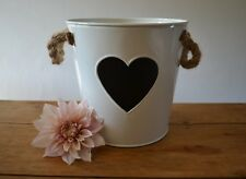 CREAM METAL BUCKET CHALKBOARD HEART - WEDDING TABLE FLORIST DISPLAY PLANTER POT