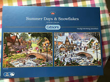 Gibsons - 2 X 500 PIECE JIGSAW PUZZLES - Summer Days & Snowflakes