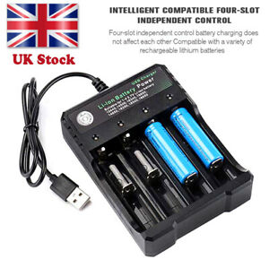18650 Li-ion Battery Charger Rechargeable 4 Slots for 4X 3.7v Batteries